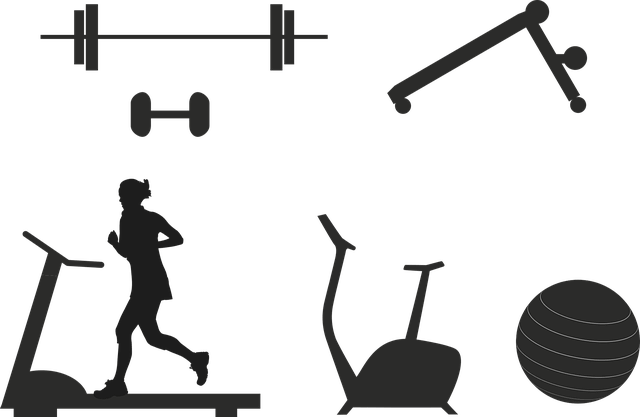 silhouettes girl and exercise equipment