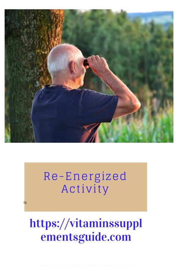 senior holding binoculars outdoors